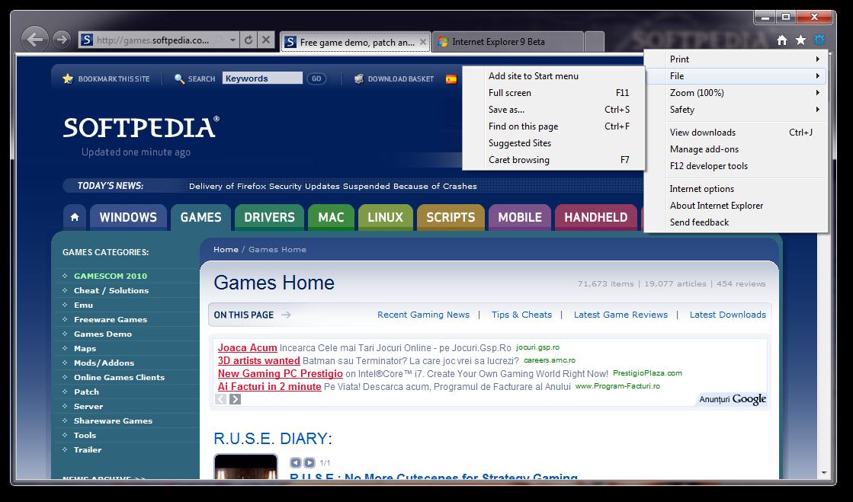 خيارات متصفح انترنت اكسبلورر Internet Explorer 9