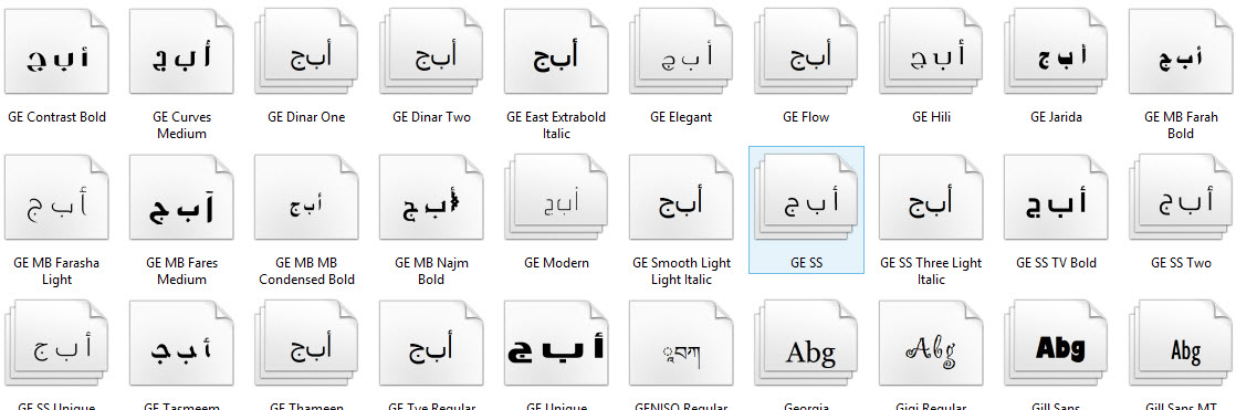 fonts windows 10